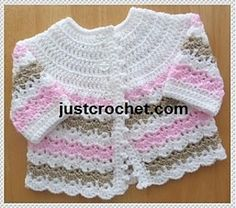 Free crochet pattern for pretty shell design baby coat, made in DK weight yarn to fit 0-3 month baby.