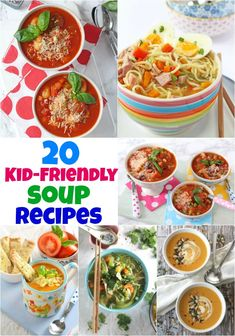 Healthy Meals For Kids Kid-Friendly Soup Recipes! 20 delicious winter warming soup recipes that kids will love! Soups For Kids, Easy Family Meals, Healthy Meals For Kids, Kids Meals, Toddler Meals, Toddler Food, Gourmet Recipes, Healthy Recipes, Kids Soup Recipes