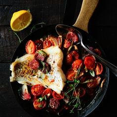 Baked cod with chorizo and cherry tomatoes2