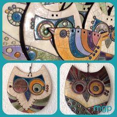 Gufetti da appendere in ceramica raku