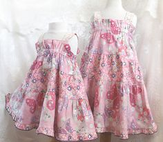 Matching Sister Easter Dress - Little Girls Cotton Pink Butterfly Dress in sizes 3 months - Girls 14 by BerryPatchUSA, $42.00 - $54.00