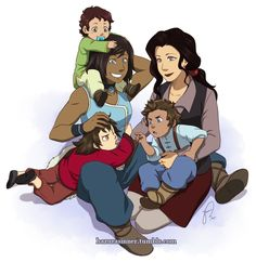 hazurasinner: In my head canon they first intended to adopt one child, but ended up adopting two at once because they were siblings and didn't want to be separated (the girl in red and the boy in blue). And one year later Korra found an abandoned baby boy on the streets (the boy in green), who became the girls' third child and who Korra decided to name Hiroshi, in honor of Asami's father.