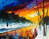 "Winter Emotion — PALETTE KNIFE Landscape Modern Wall Art Deco Oil Painting On Canvas By Leonid Afremov - Size: 30"" x 24"" (75 cm x 60 cm)"