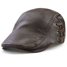 3074d5e83a566 Lace Up Design Faux Leather Flat Hat