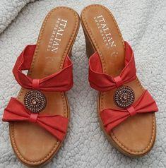 edaaa194e Italian Shoemakers Amani Orange High Heeled Espadrilles Women s Size 9   fashion  clothing  shoes