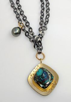 New necklace with gorgeous Koroit boulder opal and Tahitian pearl.  Easy to wear long or doubled.