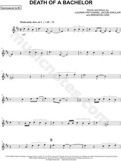 Print and download Death of a Bachelor - Bb Instrument sheet music by Panic! At The Disco arranged for Trumpet or Clarinet or Tenor Saxophone or Soprano Saxophone. Instrumental Solo, and Instrumental Part in D Major. Viola Sheet Music, Trumpet Sheet Music, Saxophone Sheet Music, Cello Music, Bass Clarinet, Violin Sheet, Piano Sheet Music, Music Songs, Soprano Saxophone