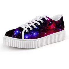 HUGSIDEA Galaxy Women's Fashion Platform Sneakers Lace Up Shoes (€25) ❤ liked on Polyvore featuring shoes and sneakers