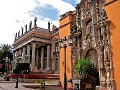 The Teatro Juarez in Guanajuato is a historic theater dating from the late nineteenth located in the Mexican city of Guanajuato ~ The building is now the Teatro Juarez, was in the past before building the first convent of Discalced Franciscans in the city of Guanajuato, which only existed on the site of the baroque church of San Diego and adjoining chapels of Santo Cristo Burgos and the Immaculate Conception.