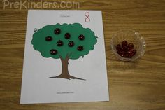 Ten Red Apples Counting Mats from PreKinders (free printable)