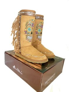 Montana West Winter Boots Womens Western Embroidered Sugar Skull Fringe Brown…