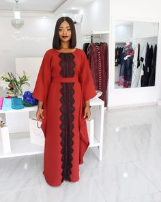 This beautiful kaftan/boubou is made with height quality cotton fabric. African Blouses, African Lace Dresses, Latest African Fashion Dresses, African Attire, African Wear, Hijab Evening Dress, Hijab Dress, African Print Dress Designs, Kente Dress