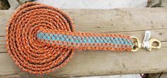 My newest and best project yet is this lead made of coral and turquoise baling twine. It has a brass hook that is used on sailing ships. I've used these hooks on lead ropes before and they… Twine Crafts, Farm Crafts, Horse Crafts, Lead Rope, Carpentry Projects, How To Make Rope, Hay Bales, Diy Craft Projects, Craft Ideas