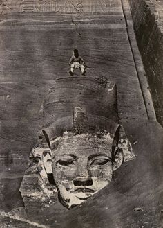 "whileiamdying: ""This photograph of a man in a headdress sitting atop a blank-eyed statue was taken at Abu Simbel during Du Camp's special mission to document certain sites in Egypt and the near East. Ancient Aliens, Ancient Egypt, Ancient History, Statue Art, Objets Antiques, Empire Romain, Templer, Art Antique, Old Egypt"