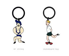 Sports Key Chain by YIZI // Mr Strong / Skateboard Boy