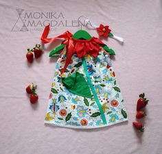 Dresses – Dress children / baby Cheerful Poppy + headband  – a unique product by Monika_Magdalena on DaWanda