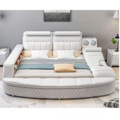 (1) Genuine Leather Bed Frame Massager Storage Safe Speaker LED Light | My Aashis