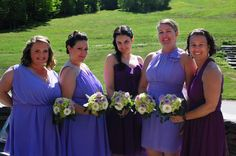 #bridesmaids #bouquets #purple #weddingideas #daisies #hydrangeas #roses #busybeeflorist