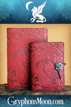 Cloud Dragon Leather Journal - Channel the spirit of the red dragon, to manifest confidence, success, and good fortune in your works. This leather-bound journal has a wraparound design, with a second dragon appearing on the back of the journal. And a third dragon is cast into the pewter button that holds it closed. Refillable with standard sized blank book. #Journal #Dragon #ChineseDragon #LeatherBoundJournal #BlankBook #RefillableJournal #DailyJournal Dream Journal, Book Journal, Journals, Refillable Journal, Moon Logo, Fairy Hair, Leather Bound Journal, Art Supply Stores, Great Father's Day Gifts