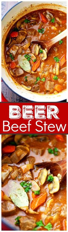 Super easy, but delicious and quickhearty stewcooked in a dutch oven withbeef, mushrooms, carrots, and beer!