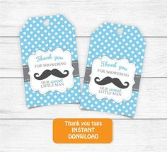Printable Mustache Baby Shower Thank you Tags Favor Thank you