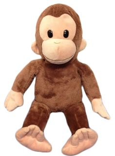 Curious George Stuffed Plush Toy by Russ Applause Monkey Stuffie Soft Cuddly 16""