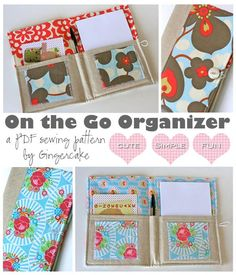 would like to purchase this - On The Go Organizer PDF Sewing Pattern Easy Sewing Projects, Diy Projects To Try, Sewing Hacks, Sewing Crafts, Sewing Tutorials, Ideas Prácticas, Sewing To Sell, Fabric Journals, Diy Couture