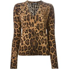 Dolce & Gabbana Leopard Print Sweater ($1,695) ❤ liked on Polyvore featuring tops, sweaters, brown, ribbed sweater, long sleeve tops, v-neck tops, leopard print sweater and ribbed v neck sweater
