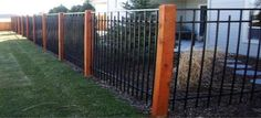 Ornamental iron fence with wood posts...