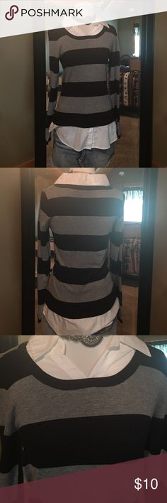Faded glory top Long striped sweater with built in button down. Adorable with skirts or leggings. Excellent condition Faded Glory Tops