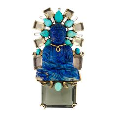 Iradj Moini Lapis Turquoise and Topaz Buddha Brooch | From a unique collection of vintage brooches at http://www.1stdibs.com/jewelry/brooches/brooches/