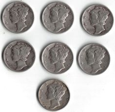 SILVER MERCURY DIME LOT OF 7 OLD U.S. COINS NO RESERVE, FREE SHIPPING