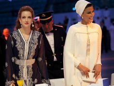Sheikha Mozah first Lady of Qatar. Attends WISH gala dinner with Princess Lalla Salma of Morocco on the 10th December in Doha, Qatar.