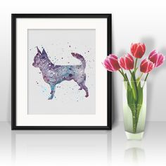Dog Chihuahua watercolor art prints, posters, wall paintings, home decor,