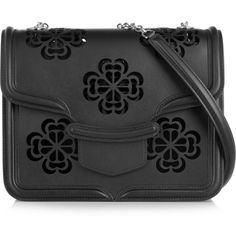 Alexander McQueen The Heroine large laser-cut leather shoulder bag (£1,280) ❤ liked on Polyvore featuring bags, handbags, shoulder bags, black, 100 leather handbags, alexander mcqueen handbags, genuine leather purse, leather shoulder bag and shoulder handbags