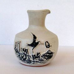 Pacific Stoneware signed 1971 B. Welsh Pottery Cruet or Vase Nautical