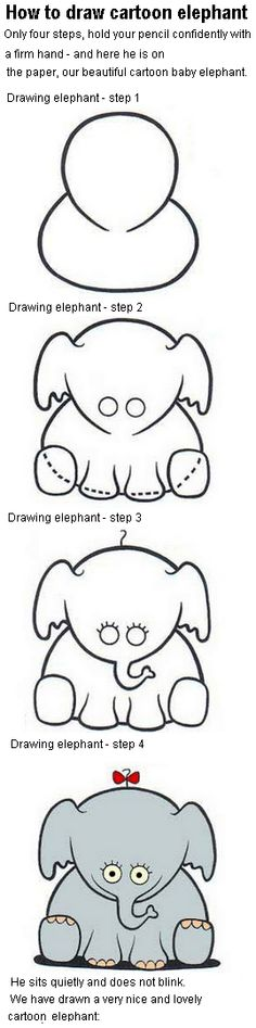 How to draw cartoon elephant