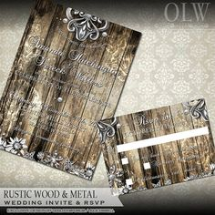 Rustic Metal Wedding invitation and rsvp card  by OddLotEmporium, $38.00