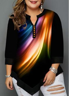 Tops For Women Split Neck Asymmetric Hem Plus Size T Shirt Plus Size Shirts, Plus Size Tops, Plus Size Women, Fashion Outfits, Womens Fashion, Fashion Clothes, Steampunk Fashion, Gothic Fashion, Casual T Shirts
