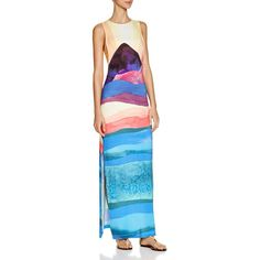 Mara Hoffman Landscape Tie Back Printed Maxi Dress ($280) ❤ liked on Polyvore featuring dresses, teal multi, mixed print dress, blue print dress, patterned maxi dress, maxi dresses and print maxi dress