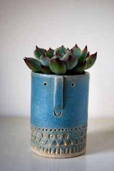Little ceramic succulent planter pot in Danish blue glaze. via Etsy. Head Planters, Ceramic Planters, Ceramic Clay, Planter Pots, Thrown Pottery, Slab Pottery, Ceramic Pottery, Succulent Pots, Cacti And Succulents