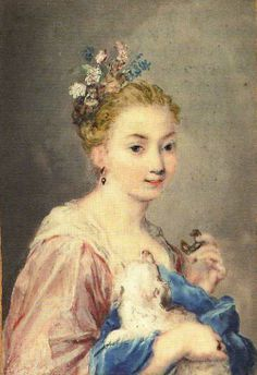 Portrait of a young girl with a dog by  Rosalba Carriera