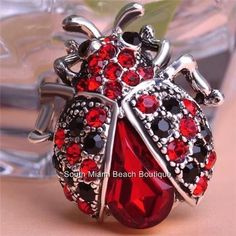 Silver Crystal Red Ladybug Pin Brooch Pave Red Black Crystals Insect Lady Bug #Blucome
