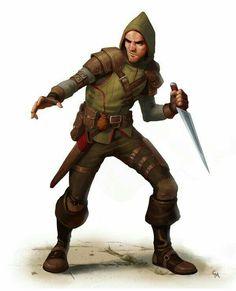 Human Rogue - Pathfinder PFRPG DND D&D d20 fantasy