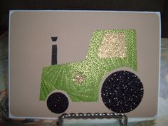 Iris Folding Tractor done in a green and gold by DeesGreetingCards, $4.50