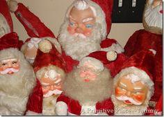 A whole slew of vintage stuffed Santas Vintage Christmas Images, Vintage Christmas Ornaments, Santa Christmas, Country Christmas, Christmas Decorations, Xmas, Holiday Decor, Santa Doll, Santa Claus Is Coming To Town