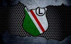 Download wallpapers Legia, 4k, logo, Ekstraklasa, soccer, football club, Poland, grunge, Legia Warszawa, metal texture, Legia FC