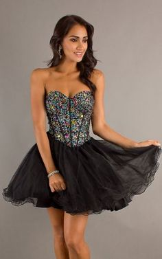 Short Strapless Lace Up Babydoll Dress