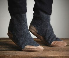 leather footed wool socks.
