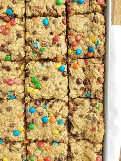 No Flour Monster Cookie Bars are loaded with oats, peanut butter, chocolate chips, and m